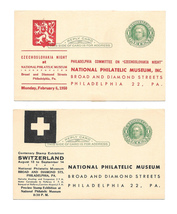 UY7 Reply Postal Cards National Philatelic Museum Invitation Response 1950  - $9.95