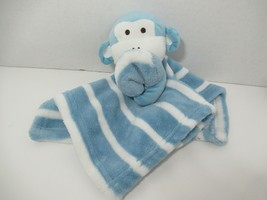 SL Home Fashions Blue White Striped Monkey Baby Security Blanket Lovey R... - $12.86