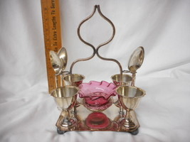 Victorian Egg Coddler Set Cranberry Moser Glass Insert with Applied Glass - $490.05