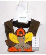 Carter's Thanksgiving Day Turkey Baby Teething Bib Brown Orange Children... - $1.57
