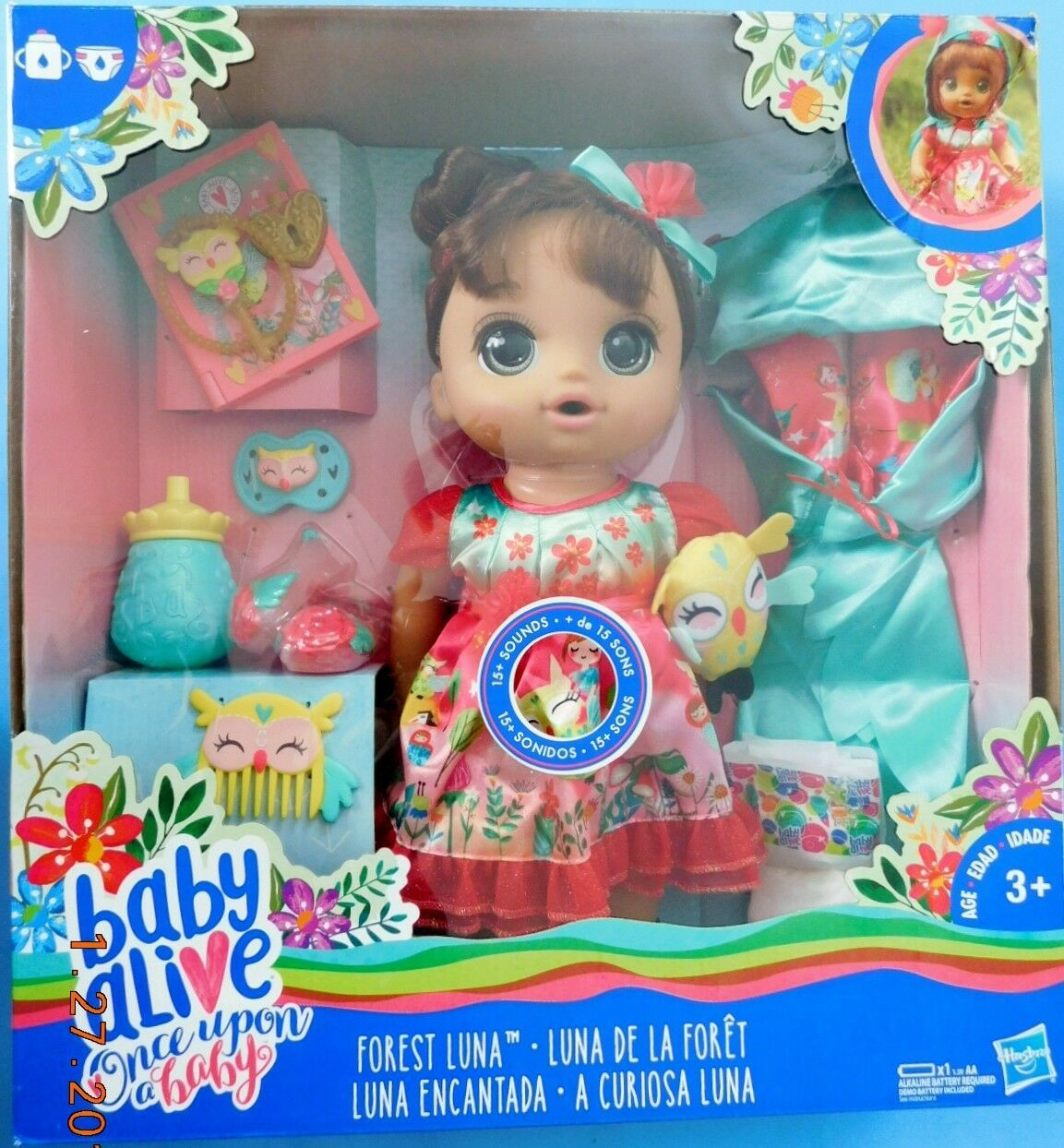 ONCE UPON A BABY ALIVE FOREST LUNA HISPANIC DOLL. 15 sounds,drinks & wets NRFB
