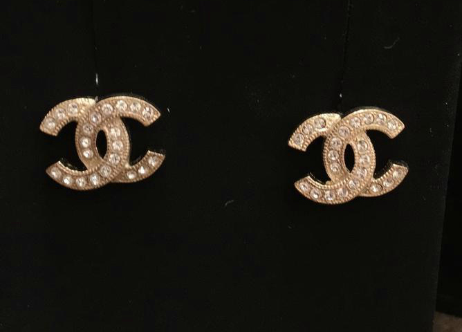 Chanel 2017 Cc Logo Gold Tone Crystal Stud Earrings Clic Authentic