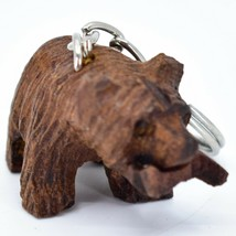 Hand Carved Ironwood Wood Folk Art 3D Grizzly Bear Country Rustic Theme Keychain