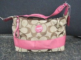 Coach Khaki & Pink  Signature Stripe Hobo Shoulder Bag Purse F17434 - $89.00
