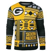 Laid Noël Pull NFL Vert Baie Packers Patchs Football Vacances Noël Ras - $49.38