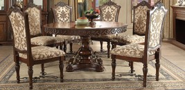 Acme 60155 Wycliff Luxury Cherry Pedestal Round Dining Table Set 7Ps Carved Wood