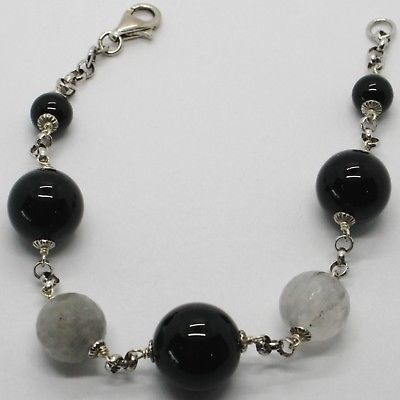 925 STERLING SILVER BRACELET BIG RUTILATED QUARTZ & BLACK ONYX BALLS, ITALY MADE