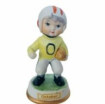 Birthday Gift porcelain figurine vtg sculpture Japan 1960s October Footb... - $19.30