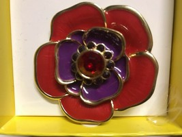 Liz Claiborne Brooch Rhinestone Pin Flower Red Rhinestones Pin $24 NWT- IN BOX - $14.87