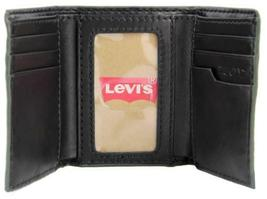 NEW LEVI'S MEN'S LEATHER TRIFOLD CREDIT CARD WALLET EMBOSSED LOGO BLACK 31LV1182 image 7