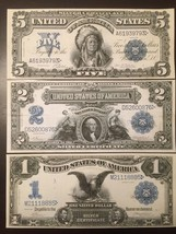 Reproduction Copies 1899 Silver Certificates $1, $2 Two Silver $,$5 Indi... - $7.91