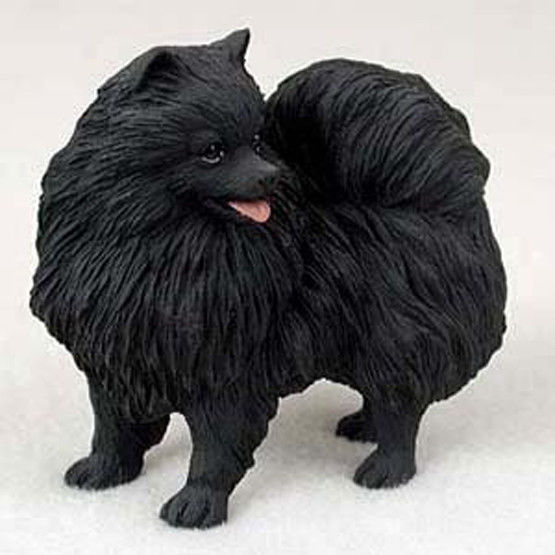 POMERANIAN BLACK DOG Figurine Statue Hand Painted Resin Gift Pet Lovers