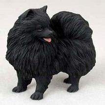 POMERANIAN BLACK DOG Figurine Statue Hand Painted Resin Gift Pet Lovers - $17.25