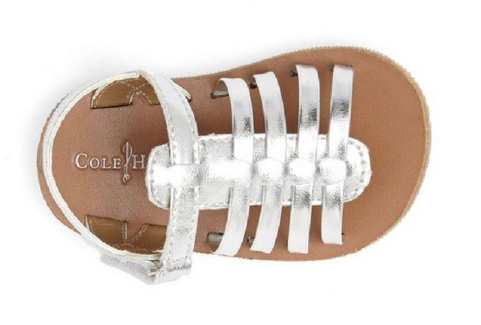 Cole Haan baby girls' 'Apple - Mini' Fisherman Sandal  Silver , Size 3