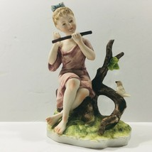 """Lefton China Antique Hand Painted """"Flutist Player Girl"""" (KW 7454) Figurine  - $49.49"""