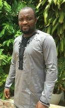 Odeneho Wear Men's Grey Polished Cotton Top/ Embroidery. African Clothing - $79.19+