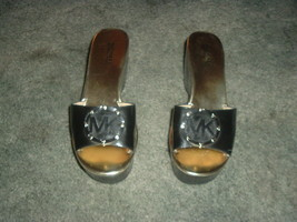 Michael Kors Upper Leather Sandals, Black Wedge Heels Size 7 with Gold Instep - $27.66