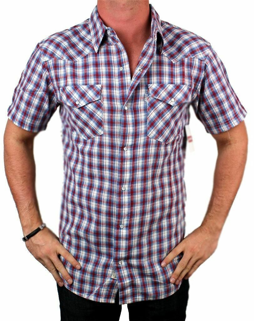 New Levi's Men's Short Sleeve Button Up Casual Dress Plaid Shirt Red 3LYSW062CC