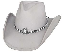 Bullhide Snowflake Wool Felt Cowgirl Pinchfront Crown Rhinestones Silverbelly - $69.00