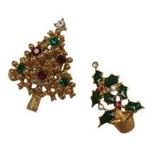 Vintage Christmas Tree Holly Brooch Pin Rhinestone Lot Of 2 - $9.89