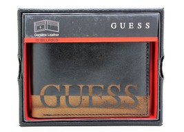 New Guess Ansel Men Black Leather Double Billfold Credit Card Wallet 31G... - $28.04