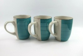 3 Royal Norfolk Turquoise Blue Swirl Stoneware 12 Oz. Coffee Mugs Cups - $20.21