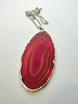 Pink Agate Slice Necklace Long Necklace Layering Necklace Natural Stone ... - $30.00