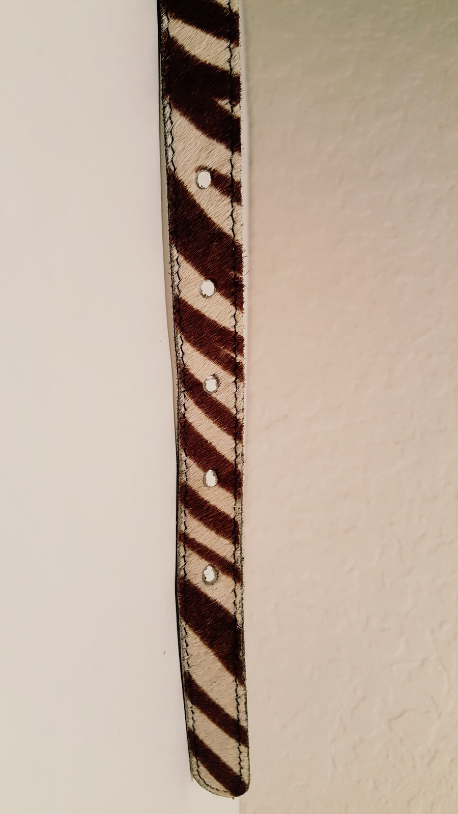 Vintage Zebra Print Belt Brushed Silver Tone Buckle