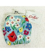 NWT Cath Kidston Floral Coin Purse w Blue Background Tulip Floral Design - $22.28