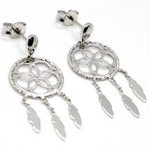 18K WHITE GOLD DREAMCATCHER PENDANT EARRINGS, FEATHER, MADE IN ITALY, 32 MM image 3