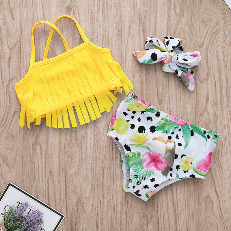 Newborn Infant Baby Girl Swimwear Suit Bird Floral Top Pant Outfit Beach Tankini image 6
