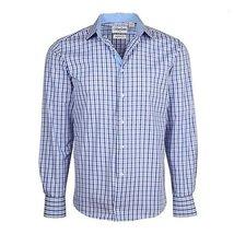 Men's Checkered Plaid Dress Shirt - Purple, Medium (15-15.5) Neck 34/35 Sleeve