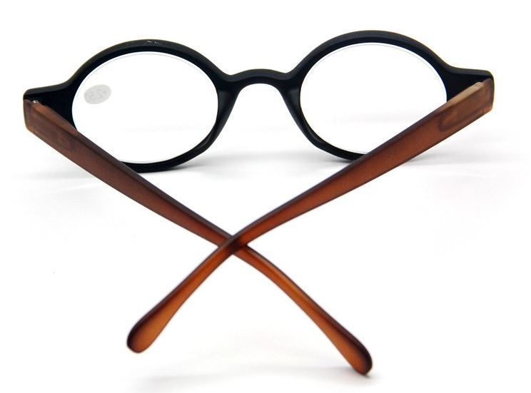 Yale Retro Round Reading Glasses Black Matte Amber Style Readers