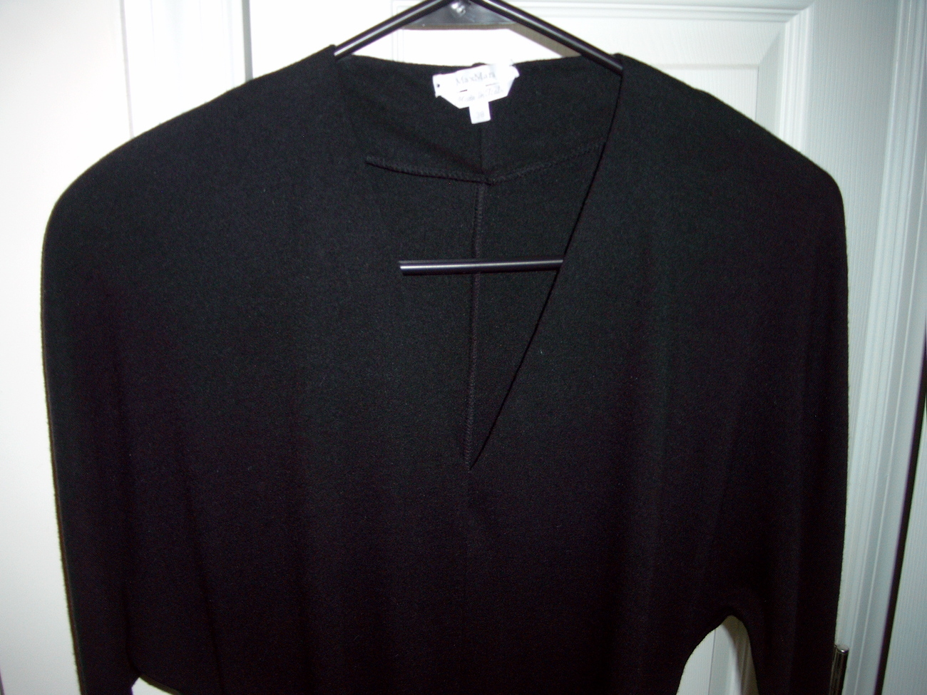 MAX MARA CLASSIC V-NECK BLACK WOOL FORMAL DRESS SIZE 38 Max Mara