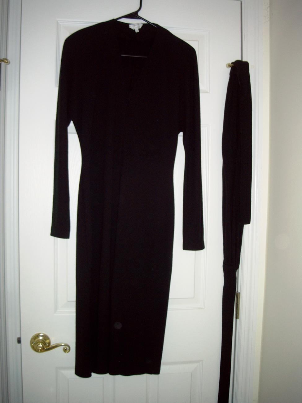 MAX MARA CLASSIC V-NECK BLACK WOOL FORMAL DRESS SIZE 38