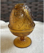 Vintage Tiara Indiana Glass Amber Gold Daisy Fairy Lamp Light Candle Holder - $29.99
