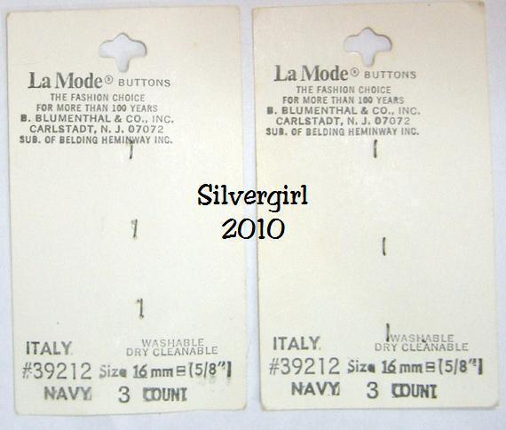 "La Mode Vintage 2 Hole Navy Denim 5/8"" Matt Buttons"