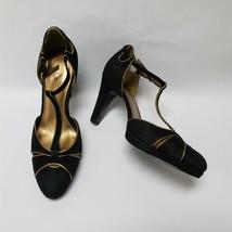 Ann Taylor Loft Womens T-Strap Heels Ankle Strap Black Gold Size US 7 M - $44.50