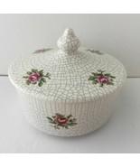 By Adriane Jewelry Trinket Box Ceramic Round Lidded Mosaic Floral Vintag... - $12.05