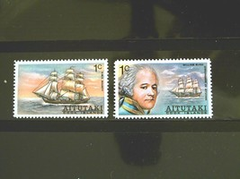 Aitutaki Set of 2 Stamps MINT -Famous Ships.- MNH Free Shipping #700198 - $1.68