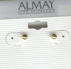 1pr Almay 3mm Goldtone Ball Earrings Bonanza