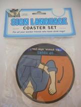 NIB Novelty Adult Sign Language Coaster set - 6 cardboard coasters - $19.79