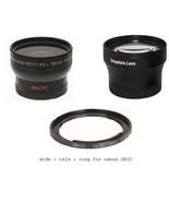 Wide Lens + Tele Lens + Tube bundle for Canon PowerShot SX410 IS SX500 I... - $89.80