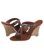 Hype Bennie Womens 7.5 Wedge Silk Shoes Pumps Heels Jewel Beads Brown Si... - $41.00