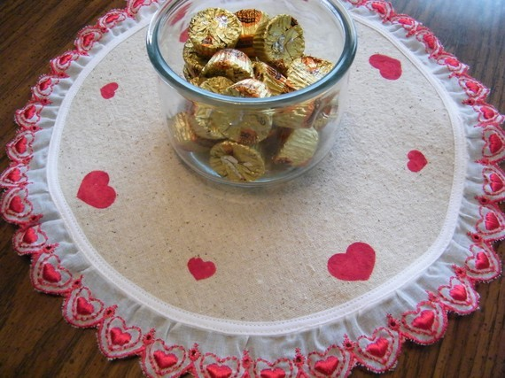Unique NEW Hand Stenciled Hearts on Osnaburg Doily Lamp Candle Mat with Red Hea