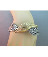 Jessica Simpson Rhinestone Bracelet Leaf Motif Crystal Gold Silver Antiq... - $29.69