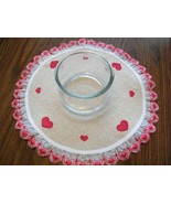 Unique NEW Hand Stenciled Hearts on Osnaburg Doily Lamp Candle Mat with... - $19.00