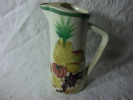 Beautiful Vintage Ceramic Stoneware Pitcher White Fruit Pineapple Yellow... - $24.75