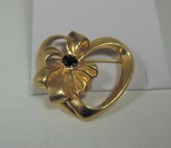 Avon Gold Tone Heart W/ Bow Pin Purple Setting - $10.88