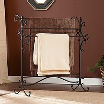 Southern Enterprises Scroll 3 Blanket Rack, Black with Bronze Rub Throug... - $44.98